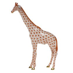 Herend small single giraffe rust