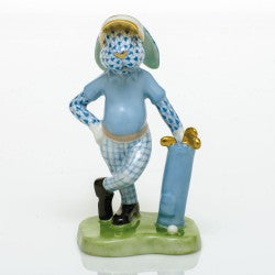 Herend Figurine Golf Bunny Blue