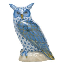 Herend great horned owl blue