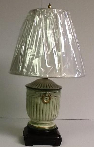 Italian Hand Painted Porcelain Small Lamp Green