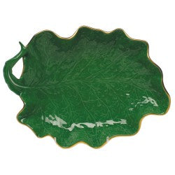 Herend large leaf dish green