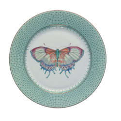 Mottahedeh Green Lace Dessert Plate With Butterfly
