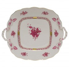 Herend Chinese Raspberry Square Cake Plate With Handles