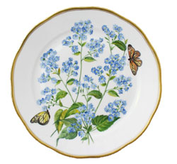 Herend China American Wildflowers Blue Wood Aster Dinner Plate