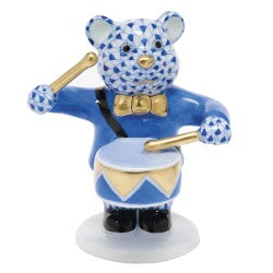 Herend Figurines Little Drummer Bear Blue