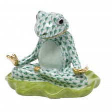 Herend Figurines Yoga Frog On Lily Pad Green