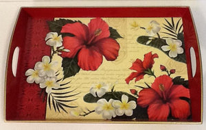 Hibiscus blossom rectangle wooden tray red trim