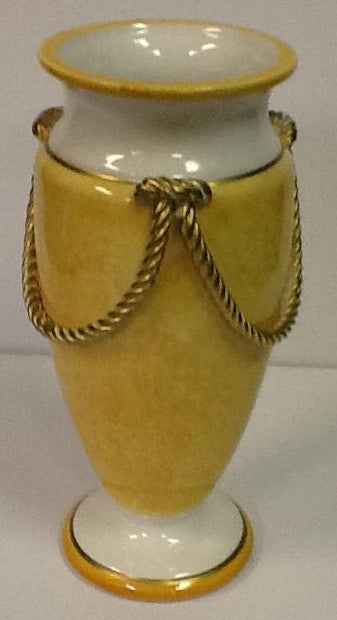 Italian hand painted ceramic vase yellow & gold rope