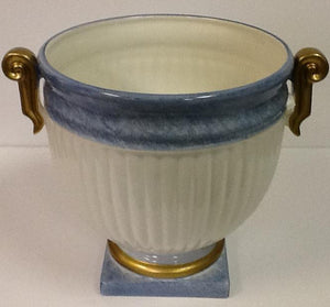 Italian hand painted ceramic planter blue & white with gold handles