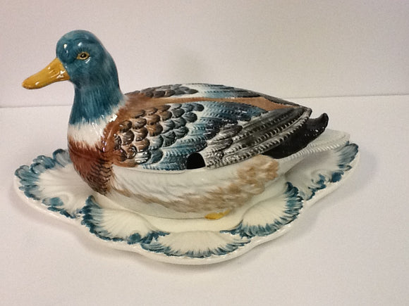 Italian hand crafted and painted duck tureen and platter