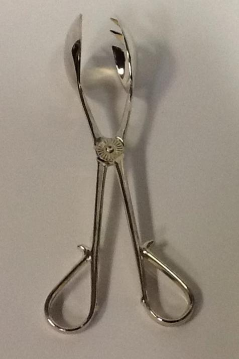 Silver plate salad Tongs