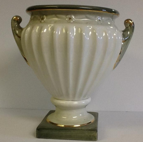 Italian ceramic footed Planter hand painted green & white