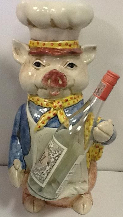 italian ceramic hand painted chef pig wine holder