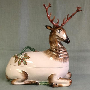 Deer tureen ceramic hand painted in Italy