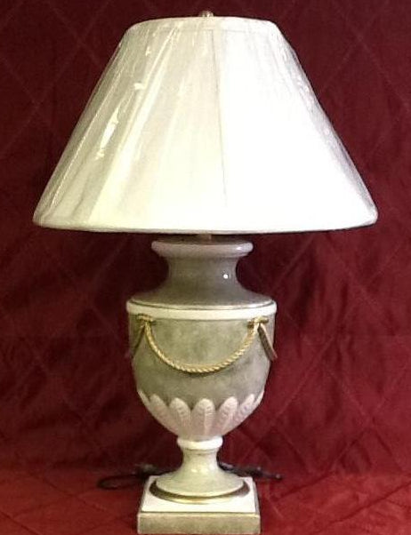 Ceramic Hand Painted Light Green And White Rope Lamp Made In Italy