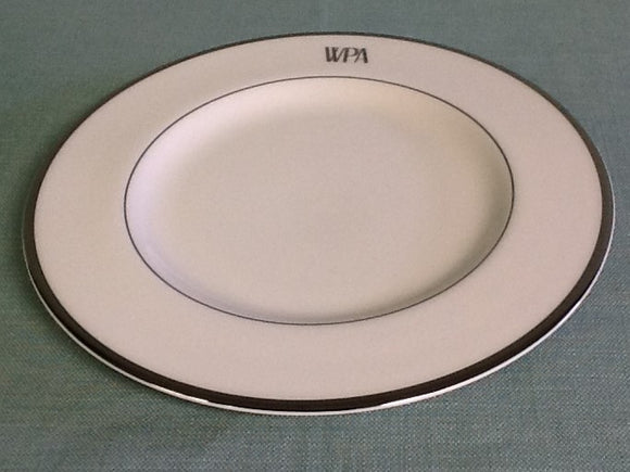 Pickard china signature ultra white and platinum salad plate with monogram
