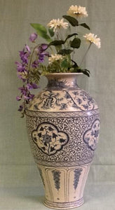 Blue and  antique white ceramic vase