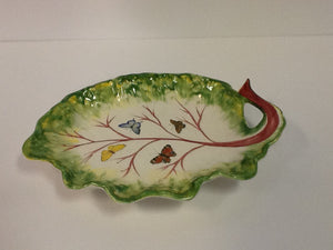 Hand painted ceramic leaf plate italy