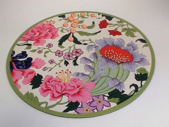 Place Mat Coated Reusable Chinese Silk Ivory Jill Rose Set Of 4