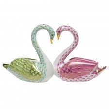 Herend kissing swans lime & pink