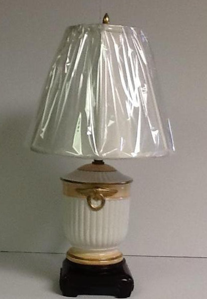 Italian Hand Painted Porcelain White and Peach Small Lamp