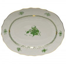 Herend chinese bouquet green oval platter large