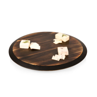 Lazy susan-fire acacia circular rotating serving tray