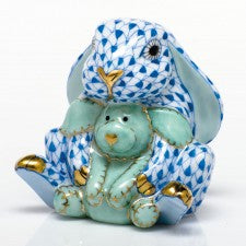 Herend Figurines Bunny & Lovey Blue