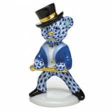 Herend figurine tap dancer bear cobalt