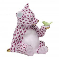 Herend figurine bear with bird pink
