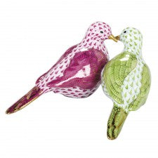 Herend figurine two turtle doves Lime & raspberry