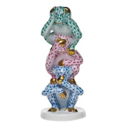 Herend three wise monkeys green,pink & blue