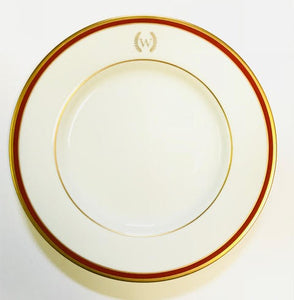 Pickard signature monogram ultra white burgundy & gold salad plate