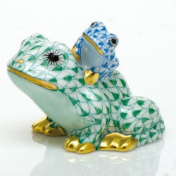 Herend Figurine Mother And Baby Frog Green