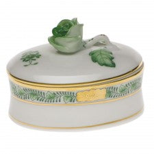 Herend chinese bouquet green oval box with rose