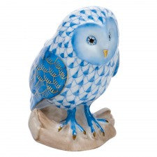 Herend barn owl blue