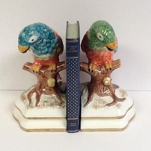 Italian Hand Painted Parrots Bookends