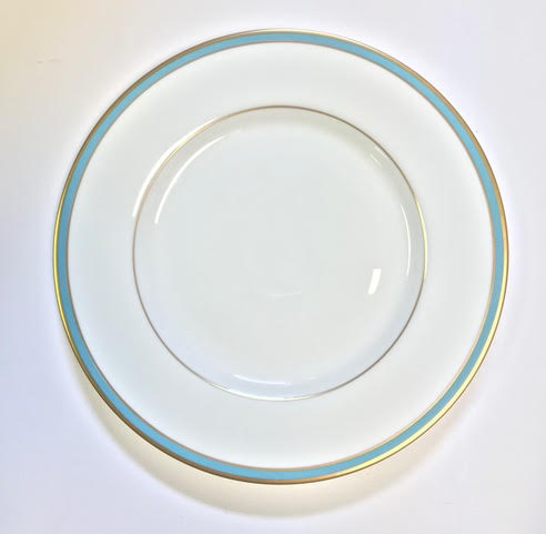 Pickard Signature ultra white blue & gold dinner plate