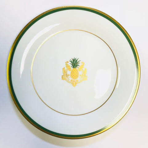 Pickard Charlotte Moss Pineapple motif salad plate gold and green