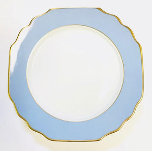 Pickard Georgian Colorsheen ultra white dinner plate blue & gold