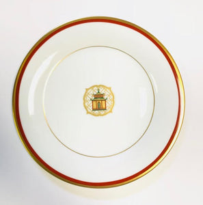 Pickard Charlotte Moss Pagoda motif salad plate gold and red