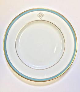 Pickard Signature ultra white blue & gold monogram salad plate