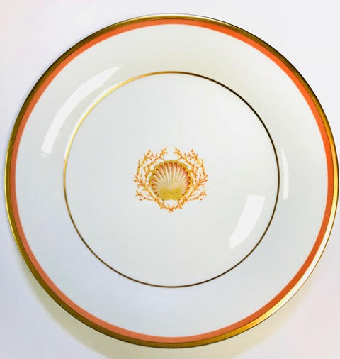 Pickard Charlotte Moss Shell motif salad plate coral and gold