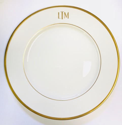 Pickard Signature Monogram White And Gold Charger Plate