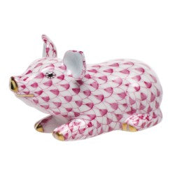 Herend Figurines Little Pig Lying Pink