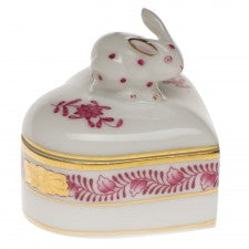 Herend chinese bouquet raspberry heart box with bunny