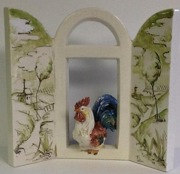Italian hand painted ceramic rooster in window