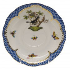 Herend rothschild bird blue border tea saucer