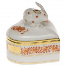 Herend chinese bouquet rust heart box with bunny