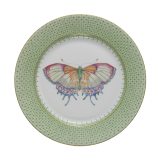 Mottahedeh apple green lace dessert plate with butterfly